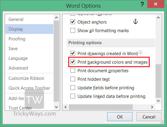 Print Background Color And Images In Word