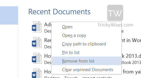 remove-recent-document-word-2013