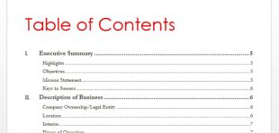 table of contents apa