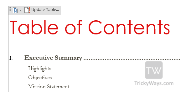 update-table-of-contents-word-2013