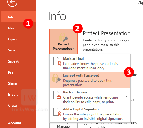 How To Password Protect Presentation File Powerpoint 2013 Office