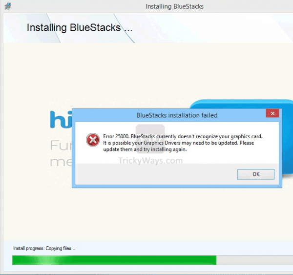 Fix BlueStacks Graphic Card Error 25000 While Installing