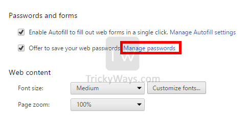 manage passwords google chrome