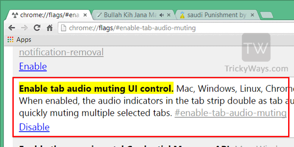 audio muting control chrome