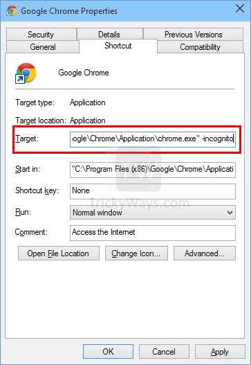 create shortcut chrome incognito mode