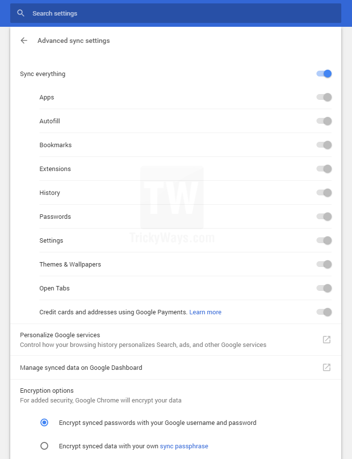 advanced sync settings google chrome