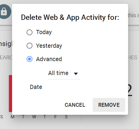 delete web app activity all time