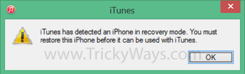 iPhone in  recovery mode deducted