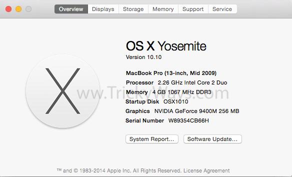 Mac model and specs