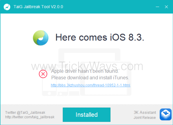 TaiG jailbreak error driver not found