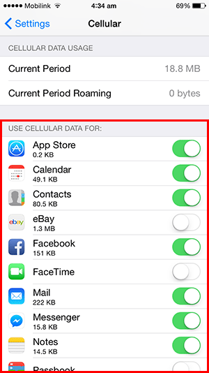 turn off data usage specific apps
