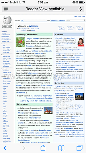 desktop version of the site safari