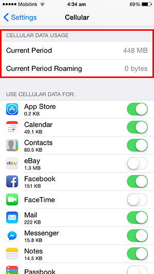 total iphone data usage