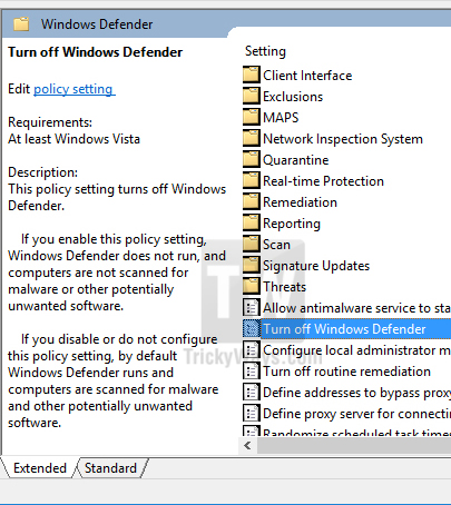 windows defender group policy setting