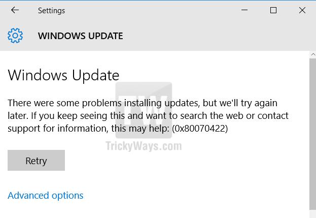 problem installing updates 0x80070422 error