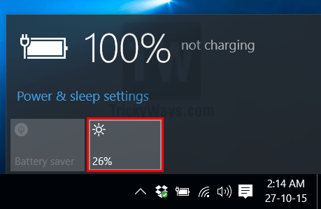 change screen brightness settings