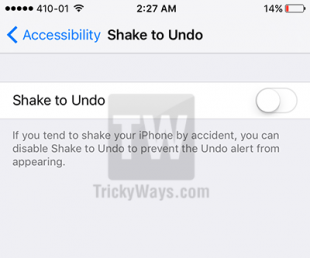 disable shake to undo ios 9