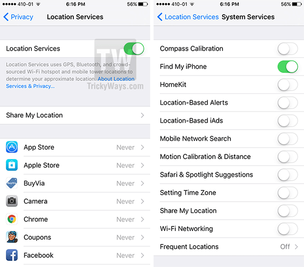 Location services ios 9
