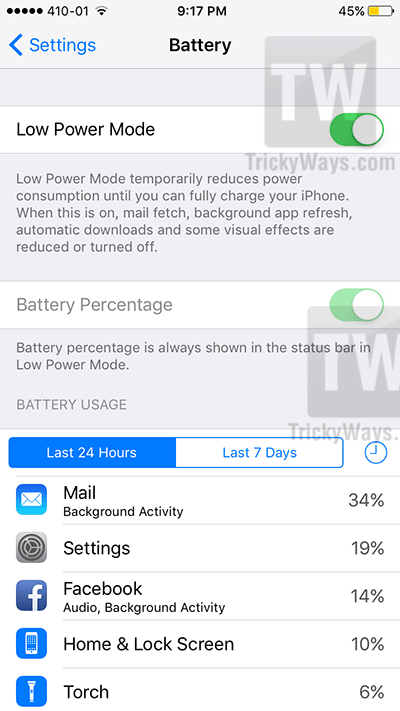 Low power mode ios 9 save battery