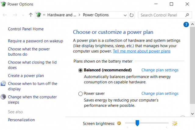 power plans windows 10