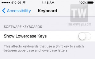 uppercase and lowercase keyboard settings