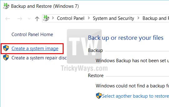 create a system image windows