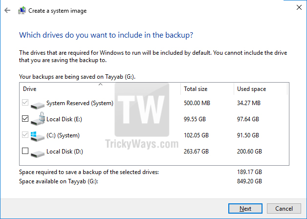 include drives in backup
