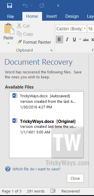 recover word document file