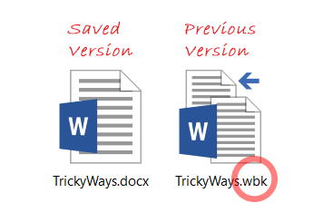word document previous saved version