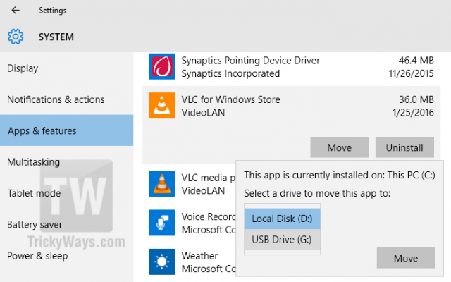 move windows 10 apps on external drive