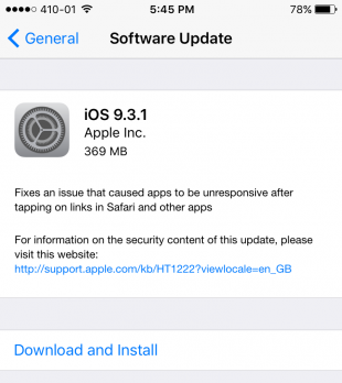 iOS 9.3.1 update download links