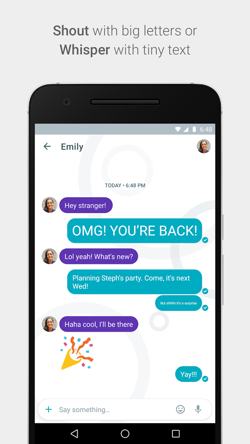 google allo shout big letter whisper tiny text