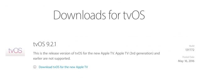 tvOS 9.2.1 for 4th Generation Apple TV