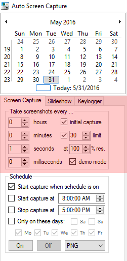 capture computer screen with interval