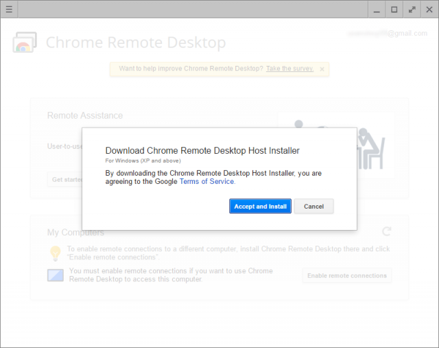 host installer for remote desktop