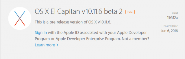 os x el capitan 10.11.6 beta 2