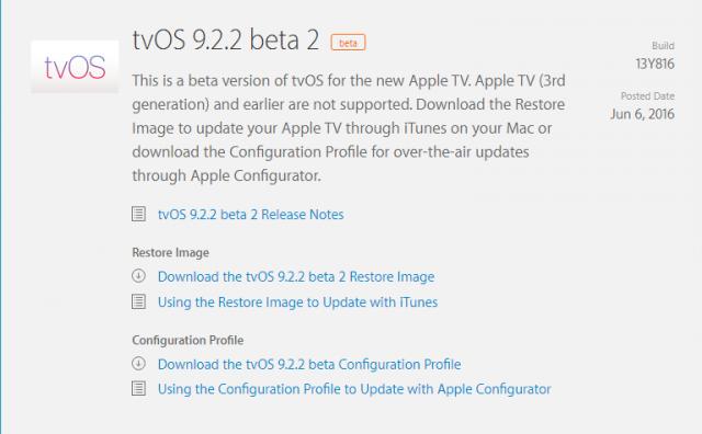 tvos 9.2.2.2 beta 2