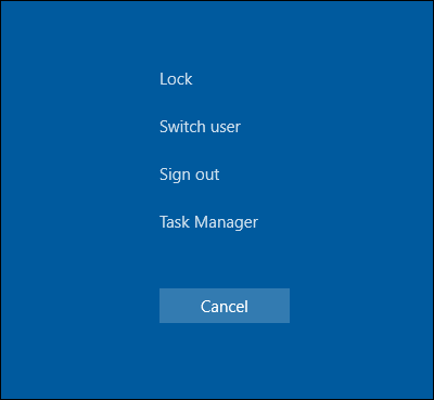 Task Manager Sign out option