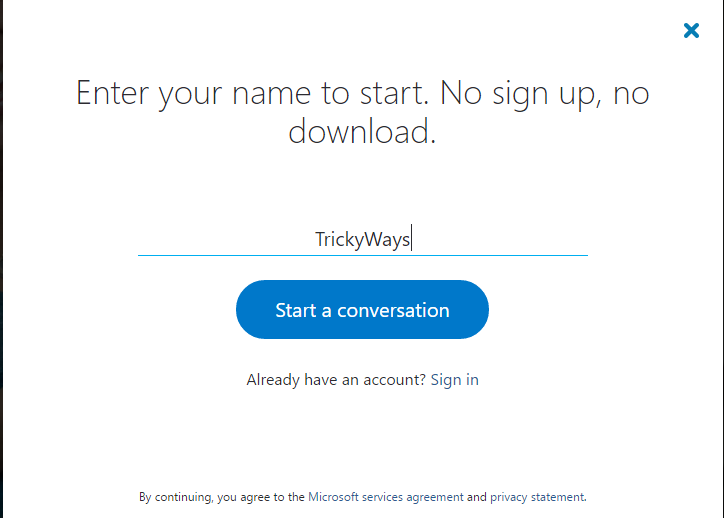 How to use Skype without signup or downloading an App