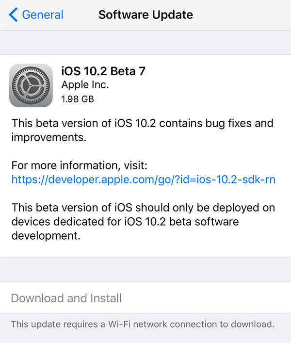 Apple Released iOS 10.2 Bets 7 to Developers and Public Beta