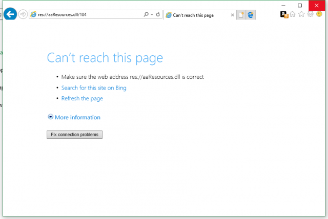 res://aaResources.dll/104 Error on Internet Explorer Windows