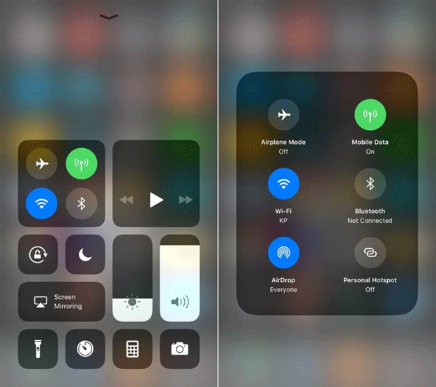 iOS 11 redesign control centre