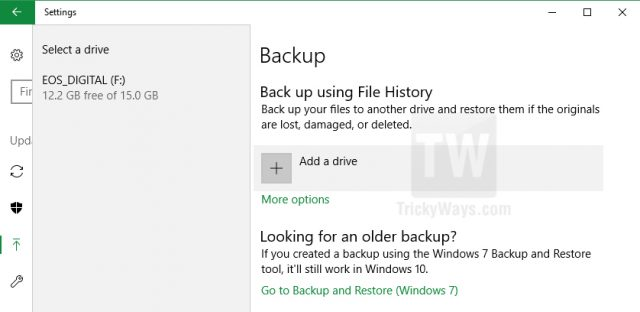 add a backup drive windows 10