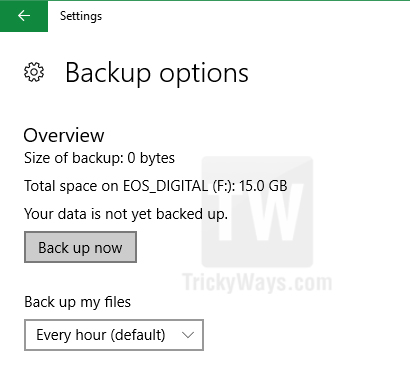 backup now windows 10