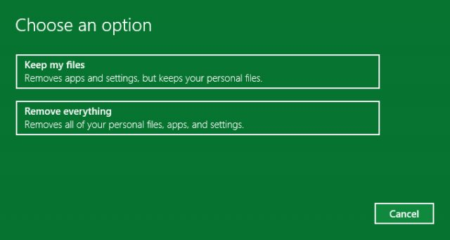 reset pc options windows 10