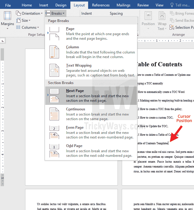 add-section-break-word-document