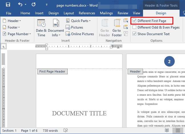 Add page numbers starting from specific page in word document hide page number from first page ccuart Choice Image