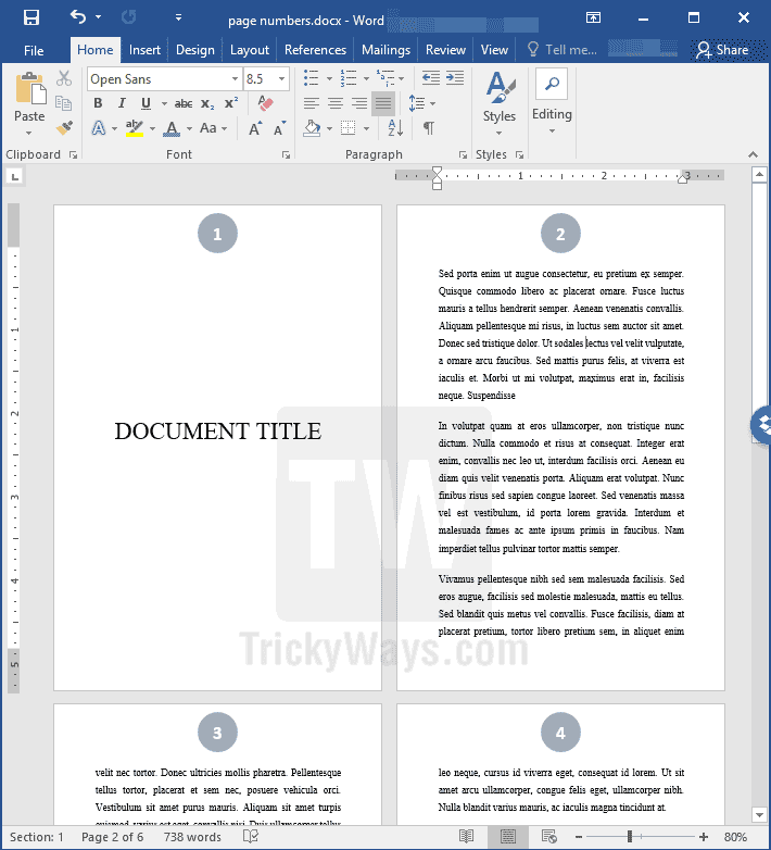 Add page numbers starting from specific page in word document word document page numbering ccuart Gallery