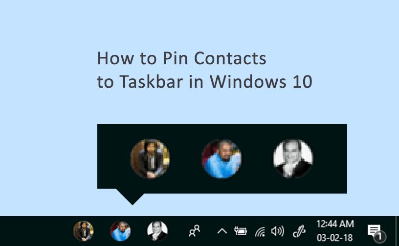 pin contacts to taskbar windows 10