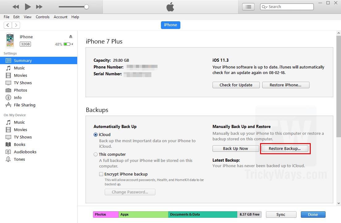 restore iphone from itunes backup how to restore your iphone or backup from itunes 17974